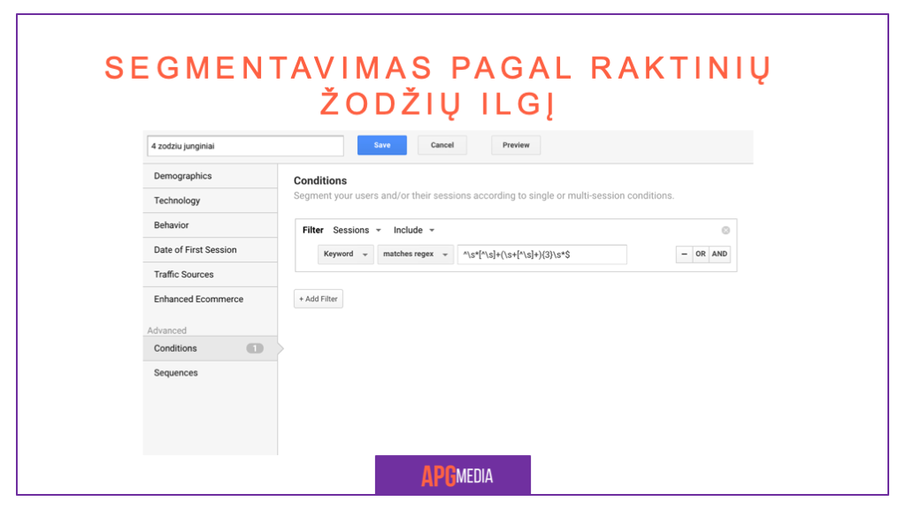 Facebook reklama, Google Analytics Segmentai
