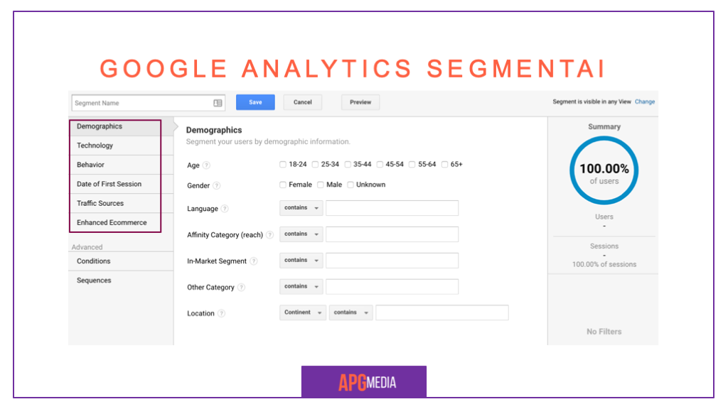 Paprasti Google Analytics segmentai