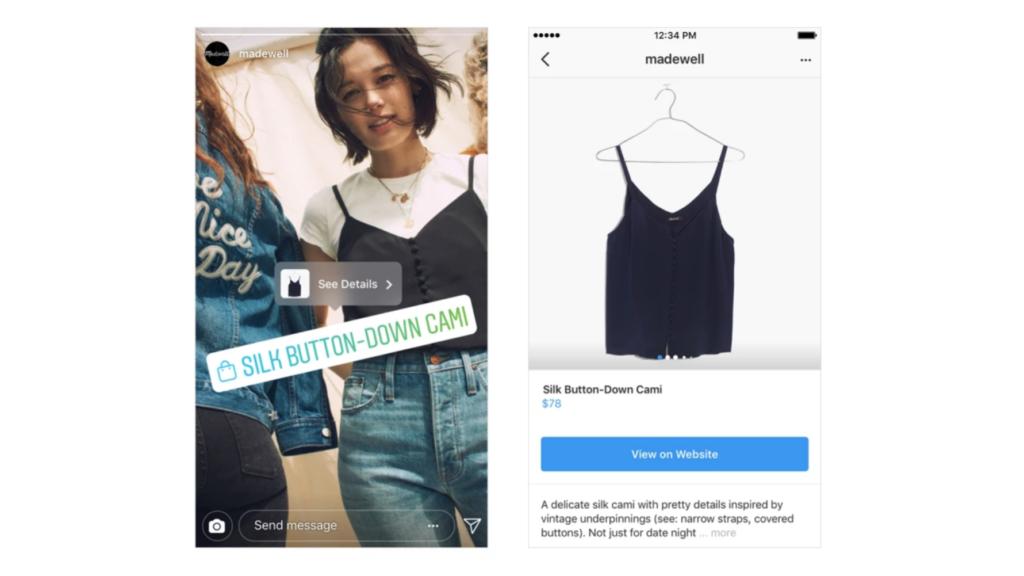 Instagram istorijose galimybė apžiūrėti produktą