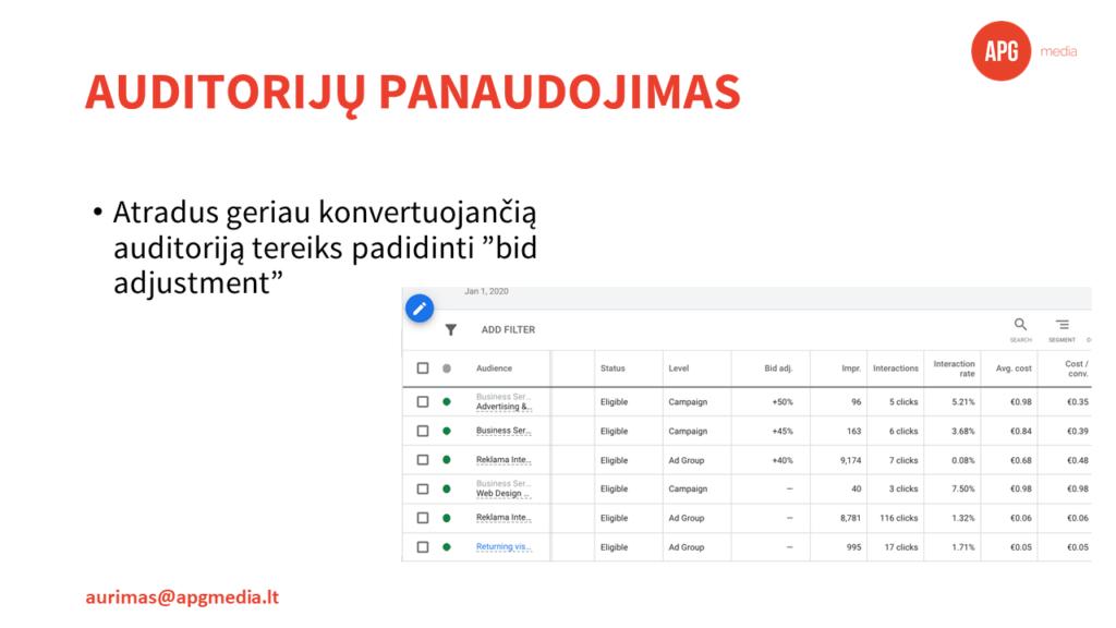 google auditorijos, Svarbiausios Google Ads automatizavimo ir auditorijų panaudojimo galimybės